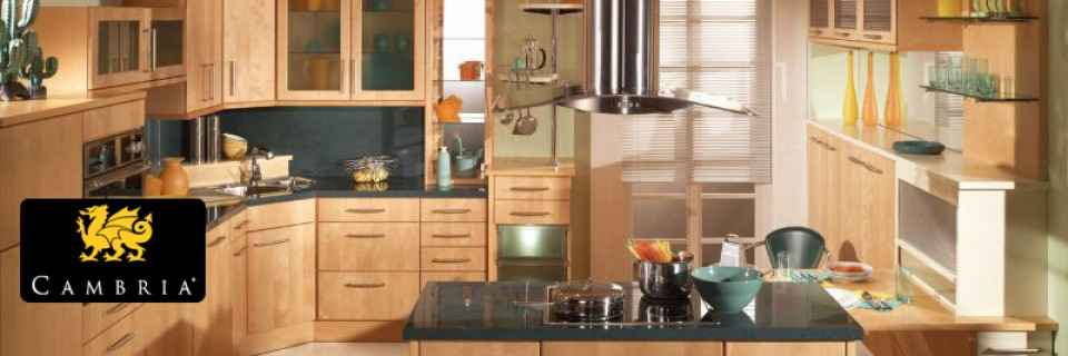 High end kitchen countertops from Cambria and custom-order cabinets.  Kitchen design services available.